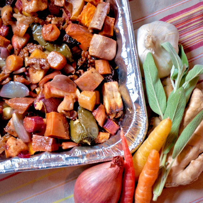 Post image for Roasted Root Vegetables with Apples and Walnuts